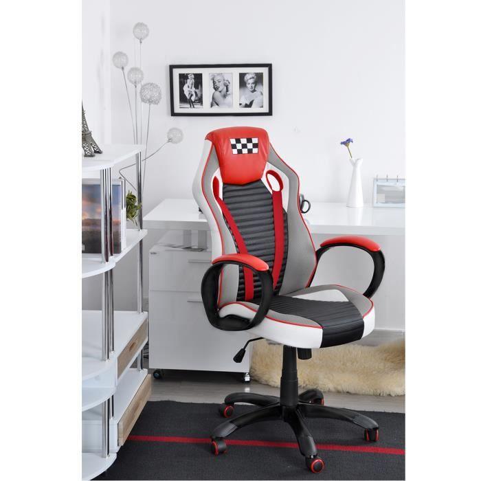 SIÈGE GAMING Homy Casa Chaise de bureau Rouge et Noir Chaise de