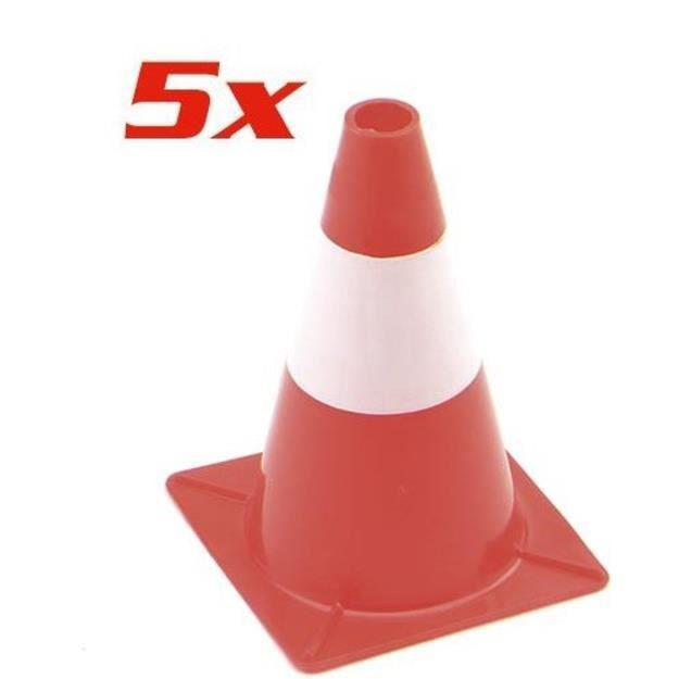 KIT DE SÉCURITÉ Pack de 5 cônes de signalisation rouge et blanc -