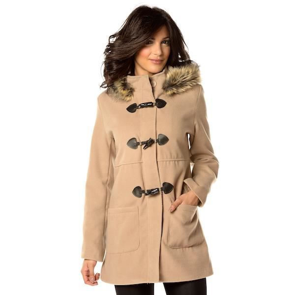 b9053be802 Duffle-coat long à capuche bordé… Beige Beige - Achat / Vente ...