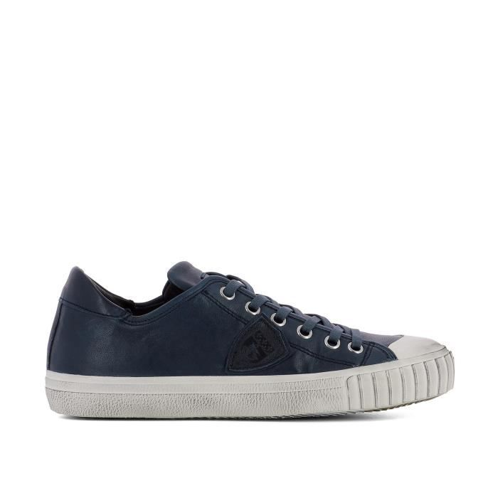 PHILIPPE MODEL HOMME GRLUVW03 BLEU CUIR BASKETS