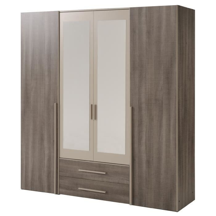 axel armoire chambre adulte style contemporain d cor ch ne r glisse et mastic l 192 cm achat. Black Bedroom Furniture Sets. Home Design Ideas