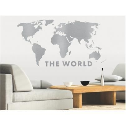 Sticker déco world map 110x60cm