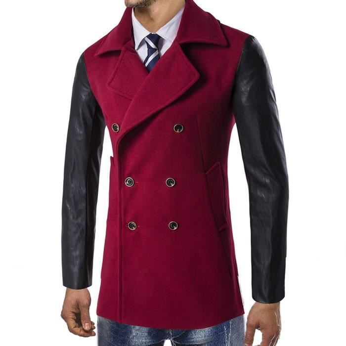 Smart Trench Outwear Pardessus D'hiver Rouge Long Chaude Veste Button xqPpvn4XWw