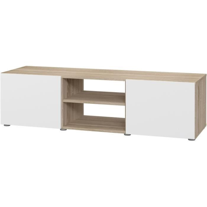 PILVI Meuble TV - Blanc et chêne sonoma - L 140 x P 42 x H 31 cm