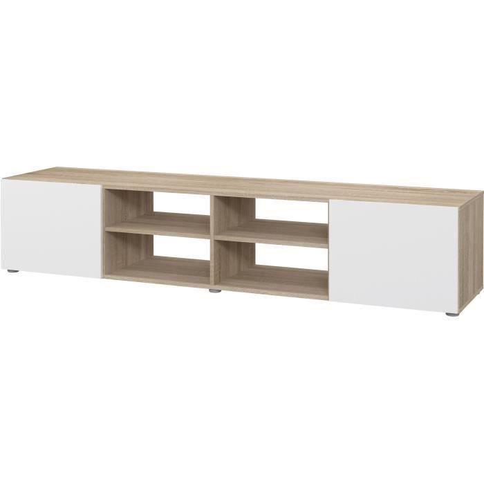 Meuble TV - Blanc et chêne - L 180 x P 42 x H 37 cm - PILVI