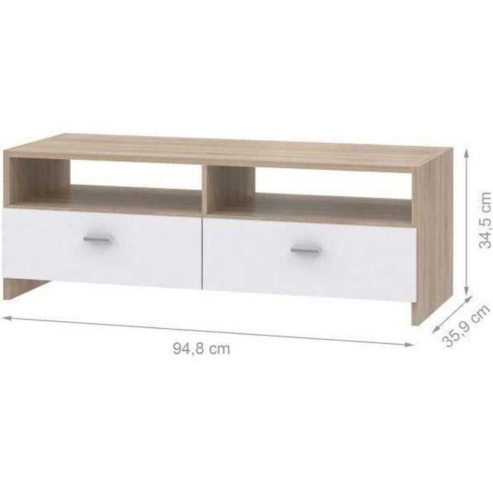 Meuble TV Blanc Mat/Chêne - L95 cm - PILVI
