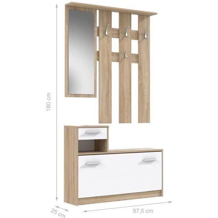 PEILI Vestiaire d'entrée avec miroir scandinave décor chêne et blanc - L 97 cm