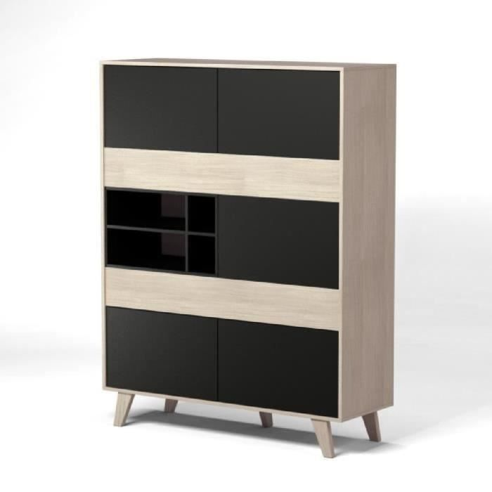 zaiken buffet haut 156 cm gris anthracite et d cor ch ne achat vente buffet bahut zaiken. Black Bedroom Furniture Sets. Home Design Ideas