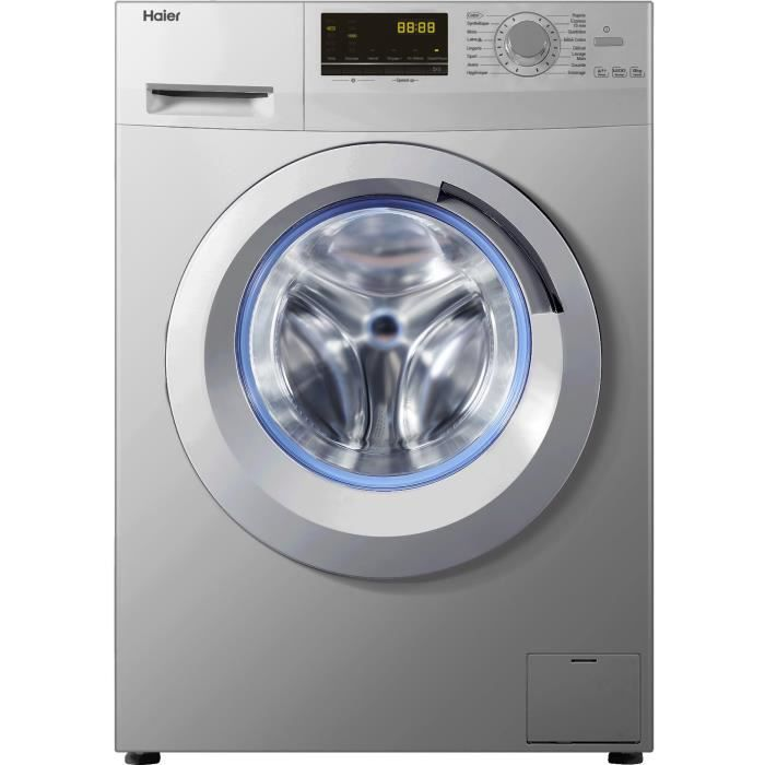 haier w8436s lave linge frontal 8 kg 1400 tours a silver. Black Bedroom Furniture Sets. Home Design Ideas