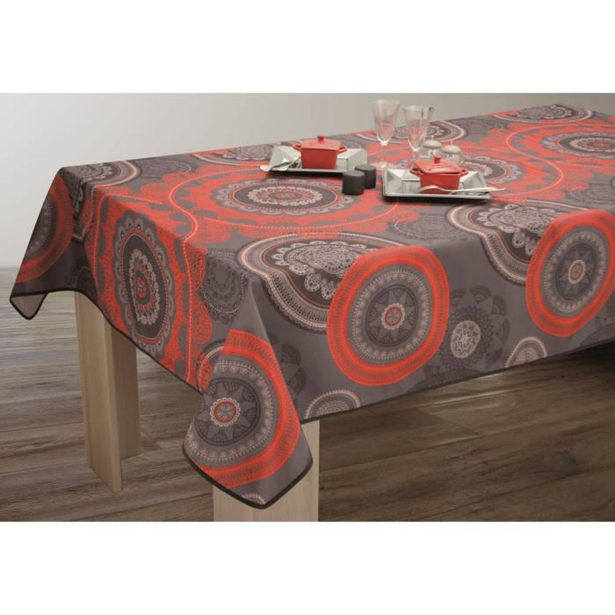 nappe anti taches carr e 180x180 cm mandala rouge. Black Bedroom Furniture Sets. Home Design Ideas