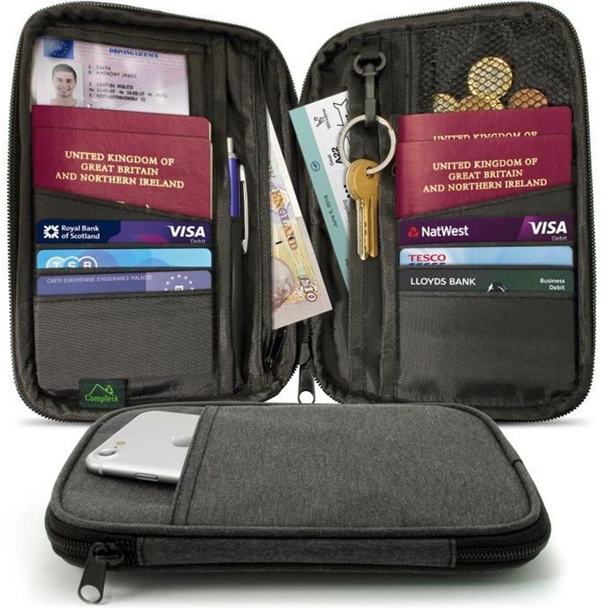Portefeuille passeport organisateur cuir prot/ège passeport Portefeuille de voyage avec protection RFID /Étui pour passeport Organisateur documents Famille Porte-cartes Porte Documents voyage Accessoire