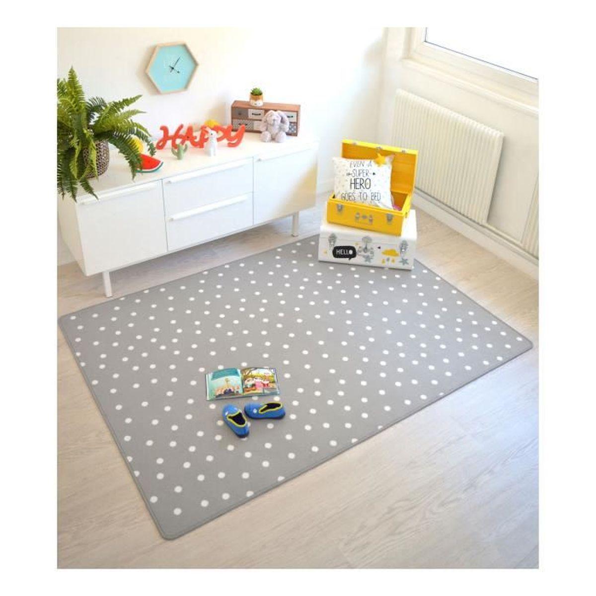 Tapis Chambre Bébé Mixte tapis chambre d'enfants - pois gris - 145 x 200 cm - achat