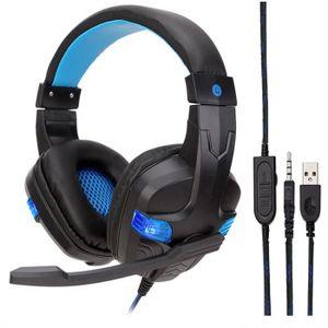 CASQUE AVEC MICROPHONE LED USB 3,5 Filaire mm Gaming Headset casque avec