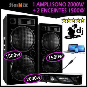 PACK SONO SONO DJ avec 2 ENCEINTES 2x1500W Max + 1 AMPLI 200