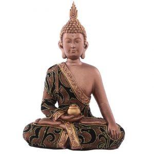 Feng Shui marron//or Bouddha figure 23 cm assis Sculpture décoration