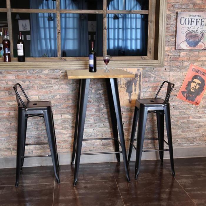 YIS Table Haute de Bar - Carré 60 cm - Table de bistrot pour Cuisine ou Exterieur Jardin terrasse Balcon - Hauteur: 110cm noir/chêne