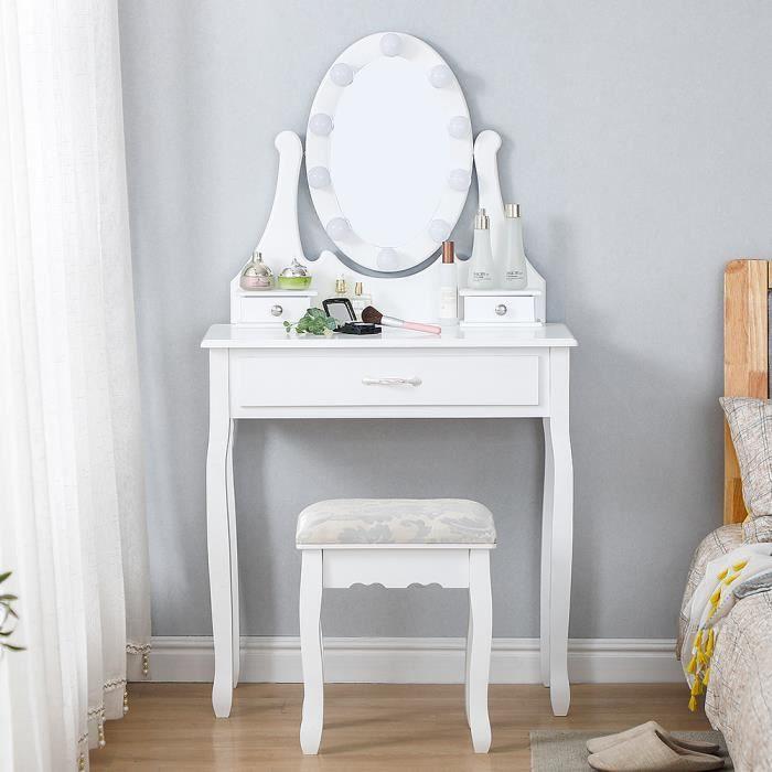 YUDAN Coiffeuse Miroir LED et Tabouret Design Contemporain Table de Maquillage 3 tiroirs Luminosité Réglable Blanc
