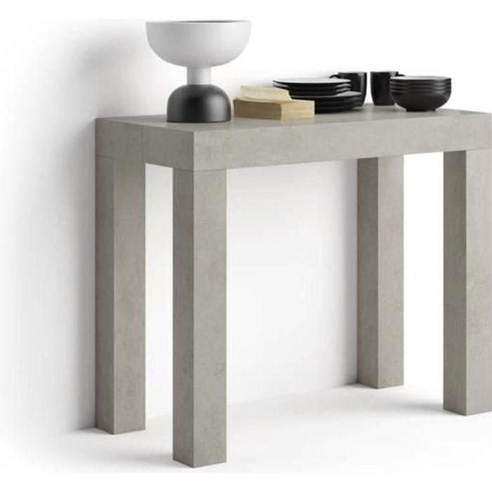 Mobili Fiver, Table Console extensible First, Béton, Mélaminé/Aluminium, Made in Italy