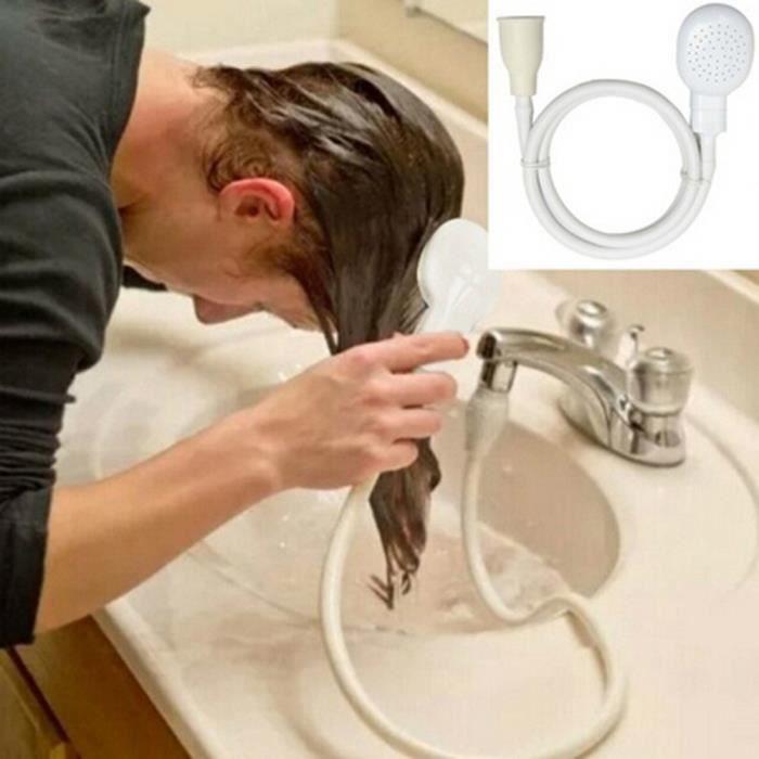 Robinet de douche Tête de pulvérisation Drains Passoire Lavabo Douche Tuyau de lavage se laver les cheveux   WTX70429482_1904 blanc