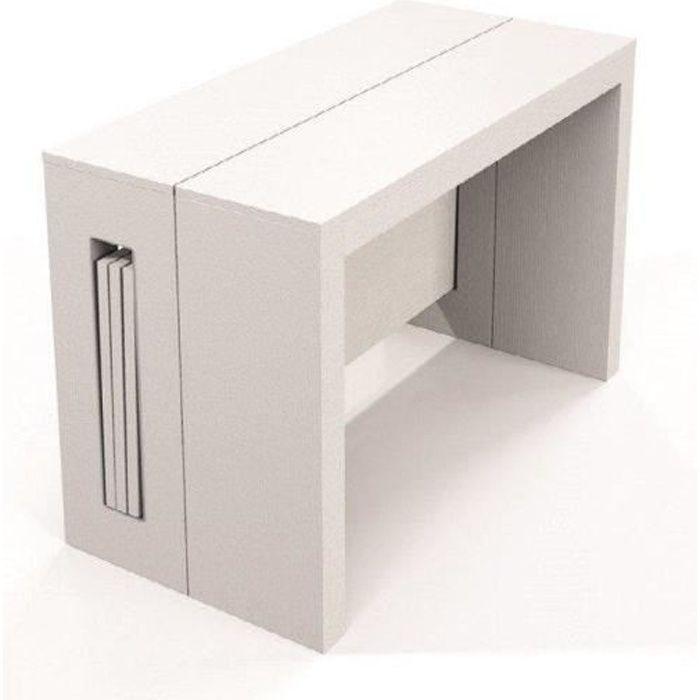 Table console extensible 10 couverts TOPAZ 120 cm chêne blanc avec allonges intégrées blanc Beton Inside75