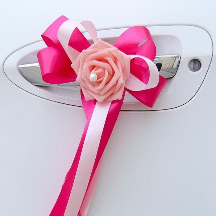 Lot de 6 nœuds ruban satin à double couleur avec fleur décorée d'une perle nacrée - décoration tulle voiture de mariés mariage Rose