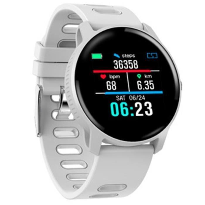 Sport podomètre montre intelligente hommes IP68 étanche Fitness Tracker moniteur de fréquence cardiaque femmes horlo - White -