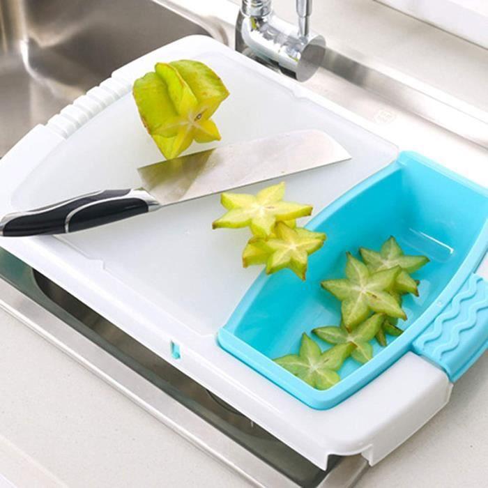 Planches à découper au-dessus de l'évier pour la cuisine, planche à découper avec conteneurs en plastique, planche à découper ave316