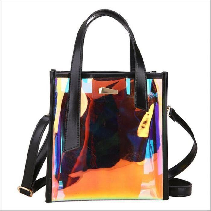 Femmes mode hologramme clair sacs fourre tout Transparent Messenger sac à main + sac intérieur~1*BU25289