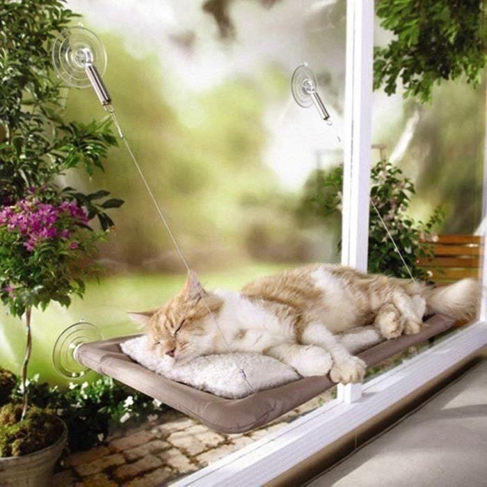 Lavable Hamac pour Chat Siège Panier Lit Fenêtre Monté Ensoleillé Ventouse Chat Chien Chiot Animal couches, 55*34cm D01DDD