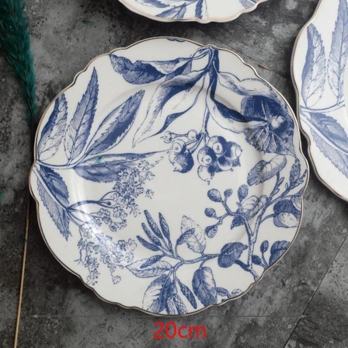 Plats et assiettes,Assiettes à dîner bohème bleu motif géométrique assiette en céramique sous glaçure - Type G3-20cm
