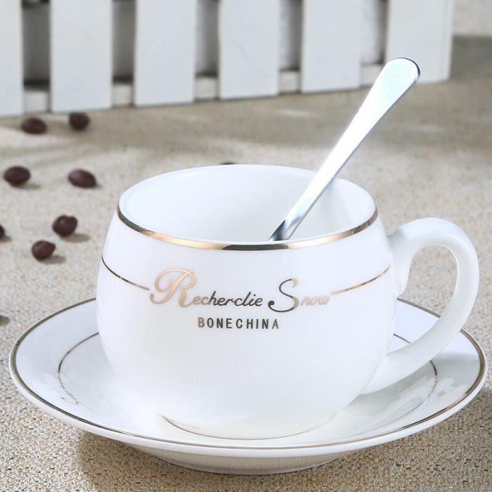 Tasse à café,Ensemble de tasses à café en porcelaine avec bordure dorée, tasse de petit déjeuner rétro Vintage - Type WHITE