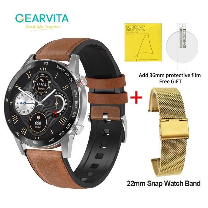 Montre connectée,Cadeau NO.1 DT95 montre intelligente hommes Bluetooth appel IP68 étanche ECG taux de - Type S Lea Snap Gold