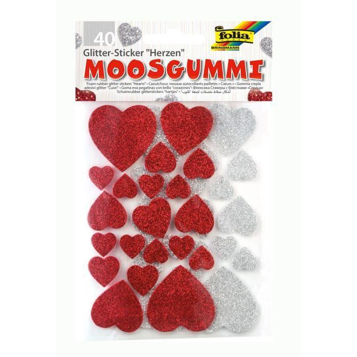 Bringmann Folia 23791 Lot de 40 stickers pailletés en forme de c?urs en caoutchouc-mousse, assortiment doré/argenté - 6 2247 100