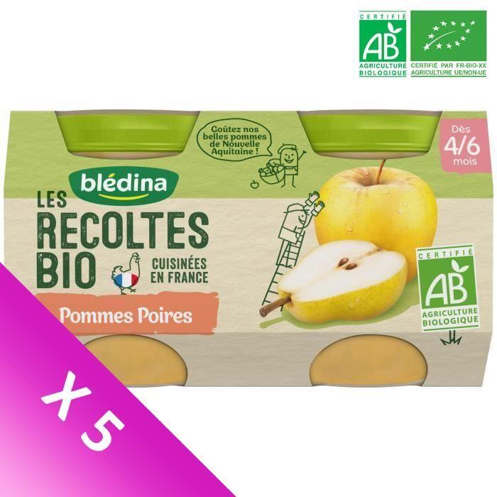 Blédina Les Récoltes Bio, Petits pots pour bébé Bio - Dès 4/6 mois - Pommes Poires - Lot de 5 x 260 g
