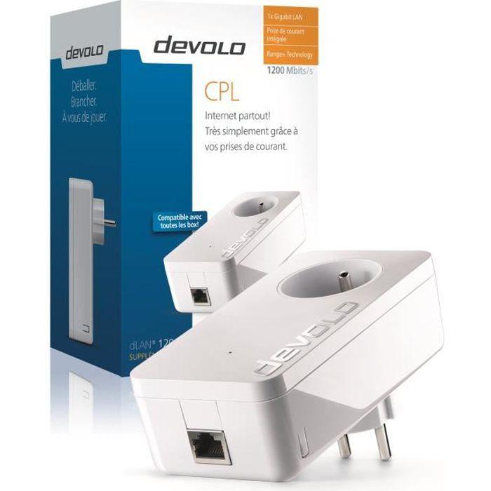 DEVOLO CPL filaire 1200 Mbit/s + 1 port Gigabit Ethernet, Prise Filtrée Intégrée Modèle 9370 dLAN 1200+