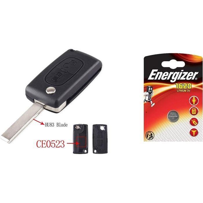 ENERGY01 HU83 CE0523 - Coque Clé Peugeot 107 207 307 308 407 2 Boutons CE0523 HU83 Lame avec RAINURE Pile sur Circuit Imprime + 1 Pi