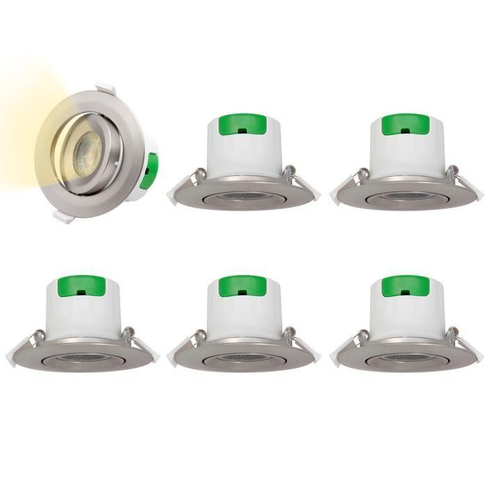 2,5 Pouces Lampes Spot LED Encastrable Plafond LED 7W Orientable Couleur Métal 60° Angle Eclairage Blanc Chaud Diamètre Trou 70-75MM