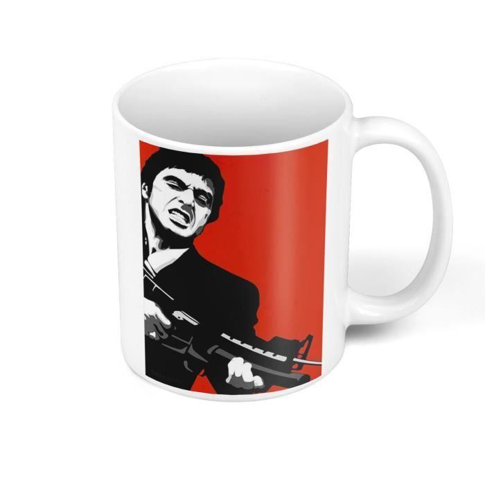Mug Céramique Film Scarface Pop Art Noir et Blanc Fond Rouge Al Pacino