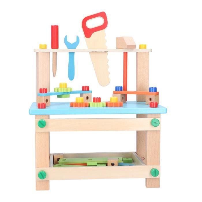 Hililand Assemblage en bois de jouet d'établi vis écrous de construction de bloc de construction