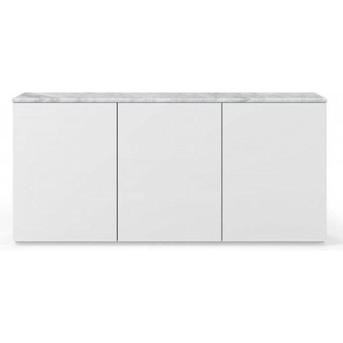 Buffet WHITY blanc mat 180cm 3 portes Plateau en Marbre blanc blanc Marbre Inside75