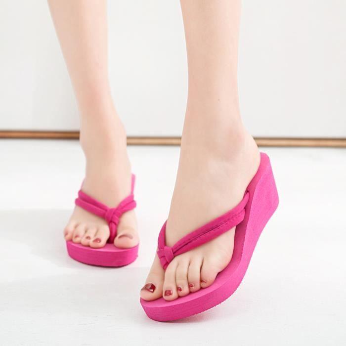 Sandales de plage compensées à talons hauts pour femmes, couleur unie, pieds antidérapants Rose vif