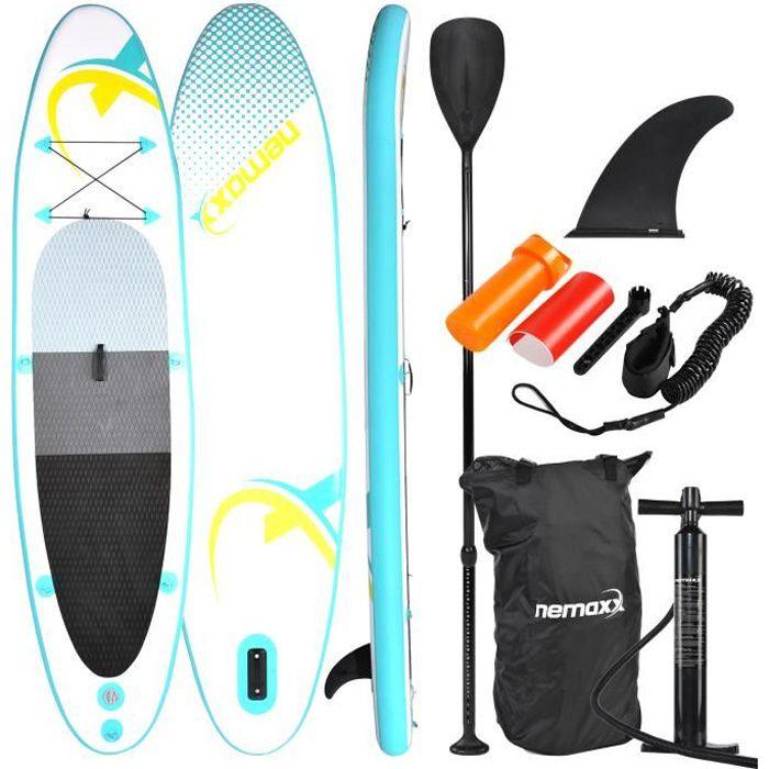 Nemaxx Stand Up Paddle gonflable 320x78x15 cm, turquoise/jaune - SUP, planche de surf gonflable et facile à transporter - sac de