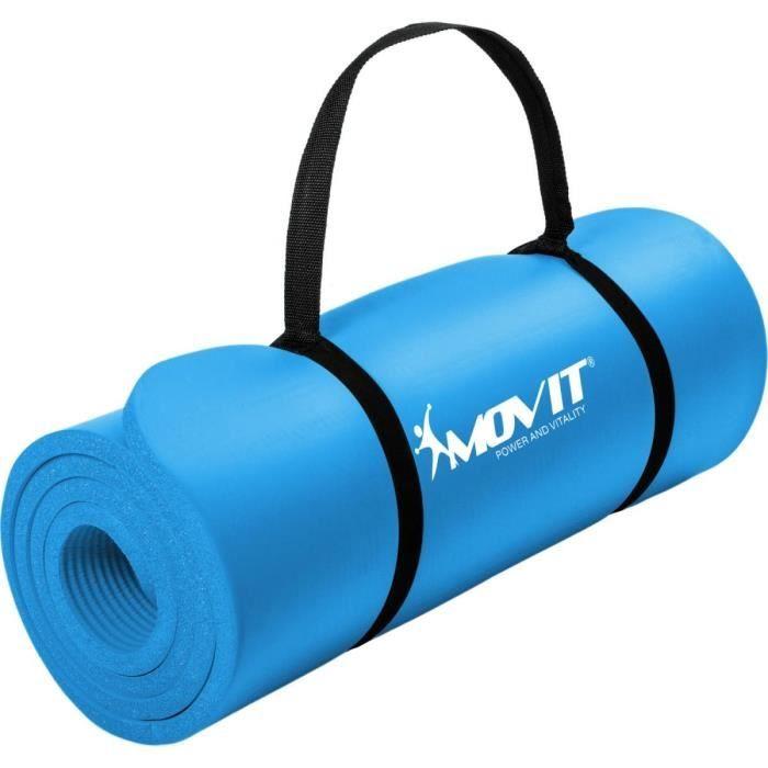 MOVIT Tapis de gymnastique 183cm x 60cm x 1,0cm, bleu