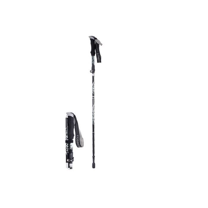 Bâton de randonnée télescopique pliable en Alliage d'aluminium Fort Type long 110-130 cm (déplié) Noir