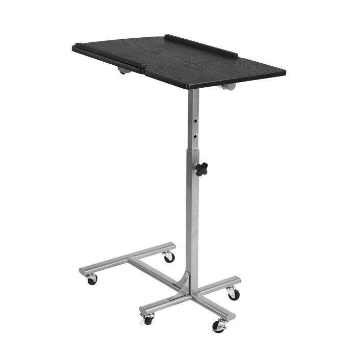 Table de lit AMALTHEA - Structure en métal - Hauteur et inclinaison réglables - Coloris noir et argent