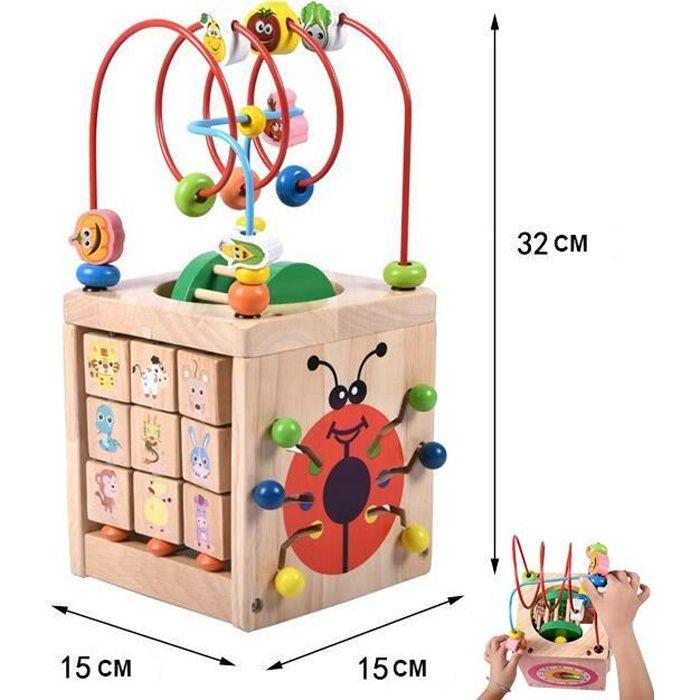 Activité Cube d'Éveil Motricité Découvertes Jouet de Bébé , Jeu d'éveil premier âge,Enfant Éducatif Cadeaux d'anniversaire Noël Fête