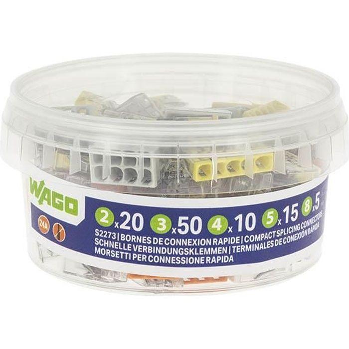 WAGO - Pot de 100 bornes de connexion automatique S2273 2,3,4,5 et 8 entrées