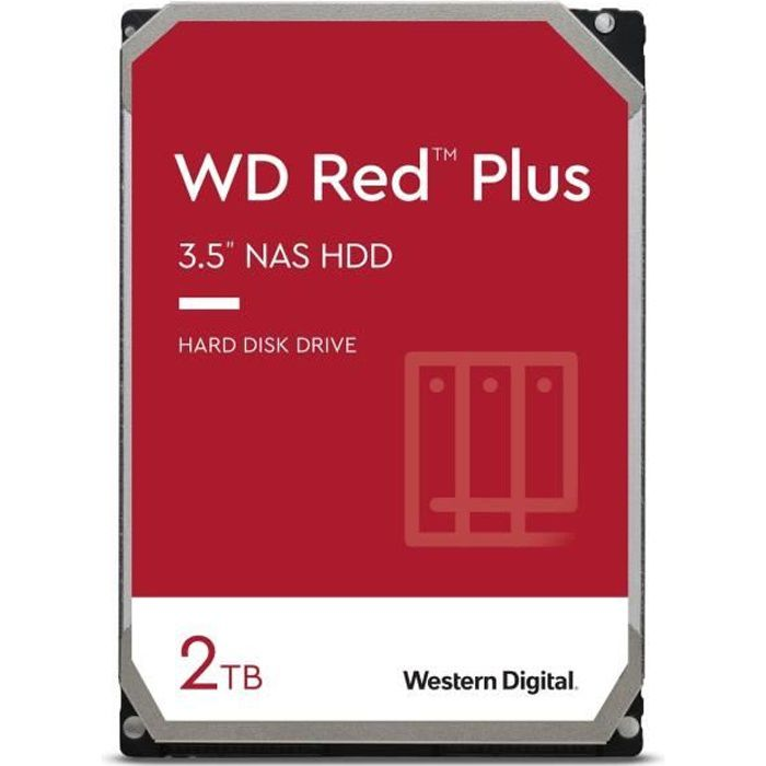 WD Red™ Plus - Disque dur Interne NAS - 2To - 5400 tr/min - 3.5- (WD20EFZX)