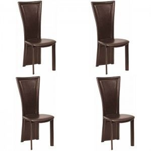 Chaises cuir salle manger king chocolat x4 achat for Chaises fauteuils salle a manger