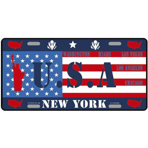 plaque americaine usa pays du monde usa new york achat vente tableau toile aluminium. Black Bedroom Furniture Sets. Home Design Ideas
